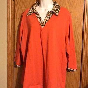 Denim and company 1X layered look orange shirt
